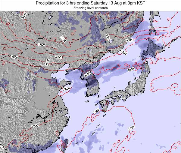 South Korea Precipitation for 3 hrs ending Thursday 07 Aug at 3pm KST