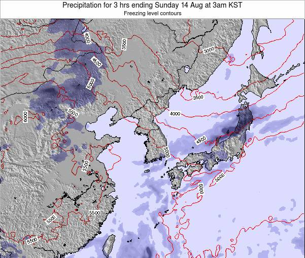 South Korea Precipitation for 3 hrs ending Wednesday 12 Aug at 9am KST
