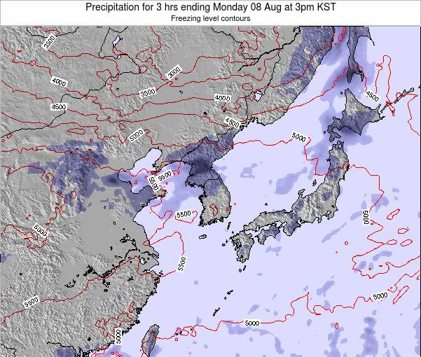 South Korea Precipitation for 3 hrs ending Thursday 23 May at 3am KST
