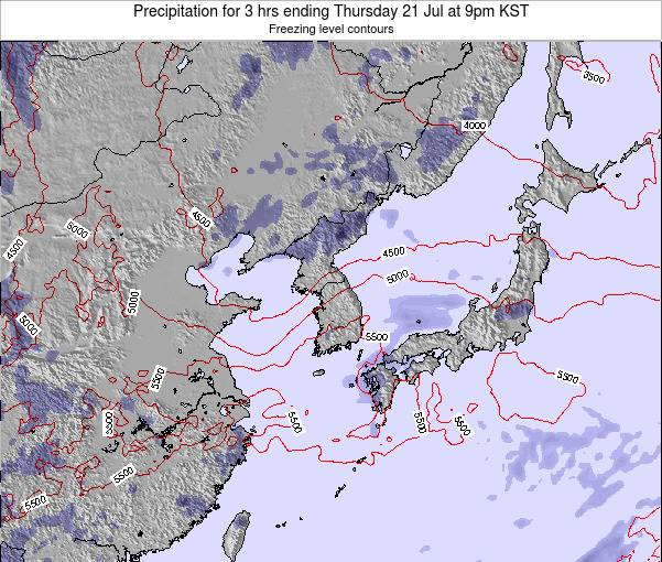 South Korea Precipitation for 3 hrs ending Wednesday 08 Jul at 9am KST