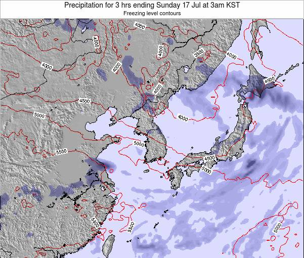 South Korea Precipitation for 3 hrs ending Tuesday 29 Jul at 3pm KST