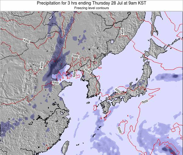 South Korea Precipitation for 3 hrs ending Saturday 14 Dec at 3pm KST