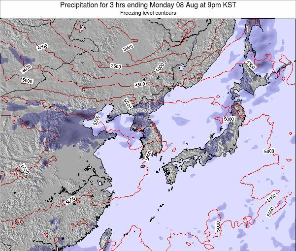 South Korea Precipitation for 3 hrs ending Saturday 19 Apr at 9pm KST