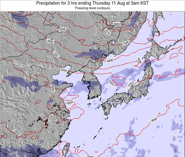 South Korea Precipitation for 3 hrs ending Sunday 03 Aug at 3am KST