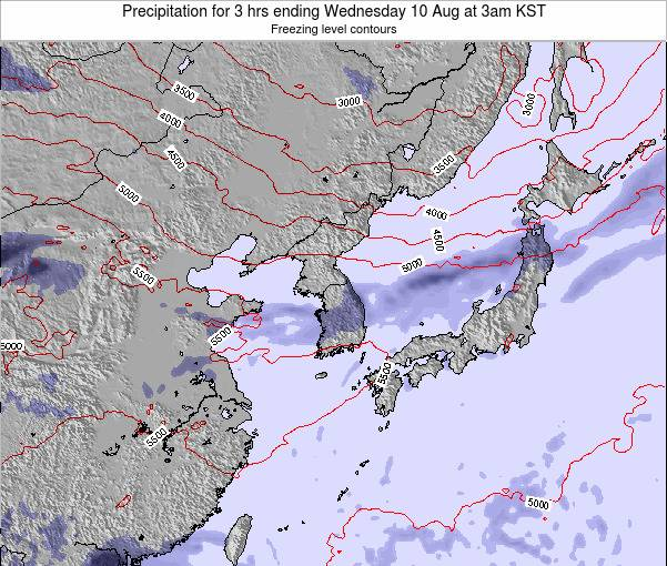 South Korea Precipitation for 3 hrs ending Friday 21 Jun at 9am KST