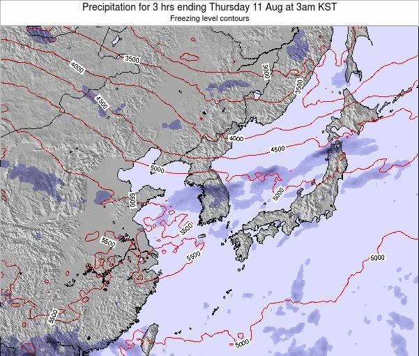 South Korea Precipitation for 3 hrs ending Sunday 15 Dec at 9am KST