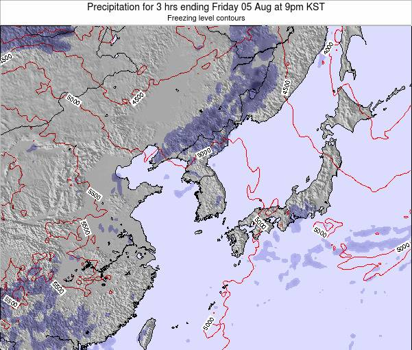 South Korea Precipitation for 3 hrs ending Saturday 04 Jul at 3am KST