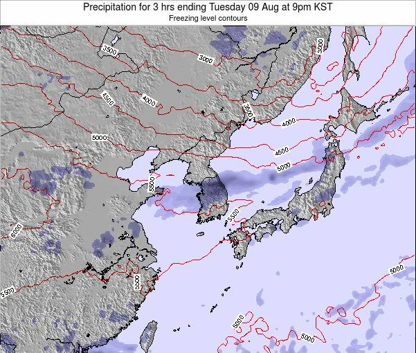 South Korea Precipitation for 3 hrs ending Saturday 26 Apr at 9pm KST