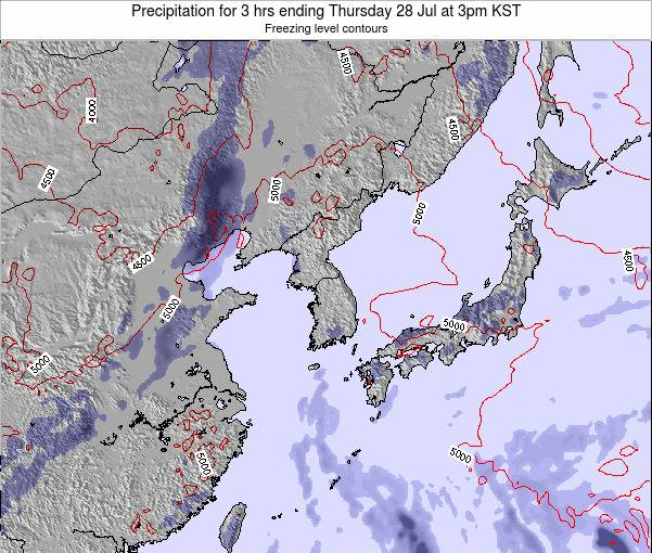 South Korea Precipitation for 3 hrs ending Tuesday 11 Mar at 9pm KST