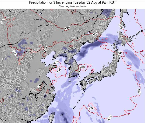South Korea Precipitation for 3 hrs ending Sunday 27 Apr at 3am KST
