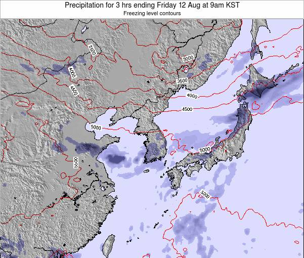 South Korea Precipitation for 3 hrs ending Saturday 21 Dec at 9pm KST