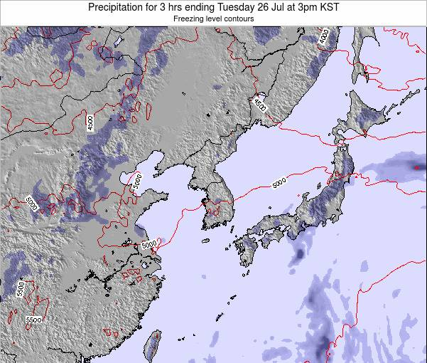 South Korea Precipitation for 3 hrs ending Tuesday 22 Apr at 9pm KST