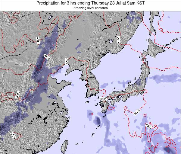South Korea Precipitation for 3 hrs ending Saturday 02 Aug at 3pm KST
