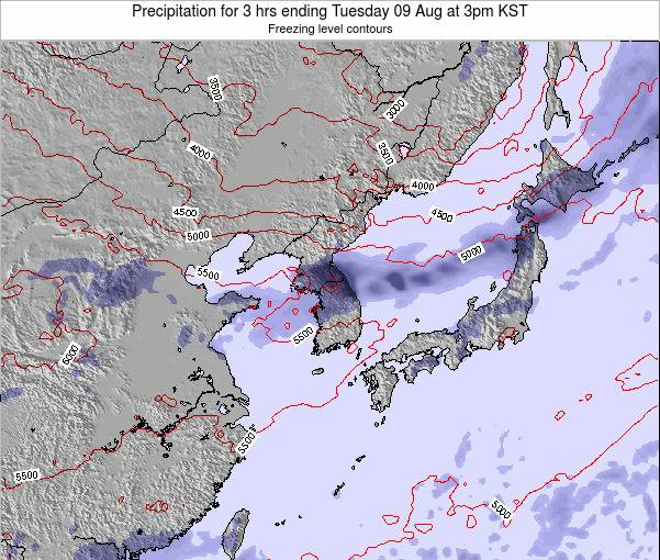South Korea Precipitation for 3 hrs ending Monday 28 Apr at 9am KST