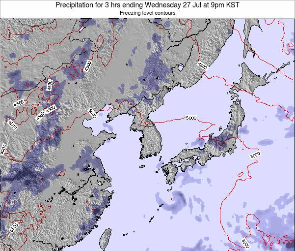 South Korea Precipitation for 3 hrs ending Saturday 25 May at 9am KST