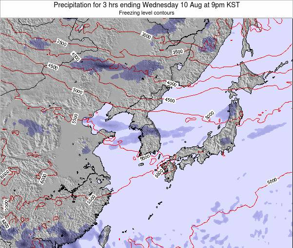 South Korea Precipitation for 3 hrs ending Sunday 20 Apr at 9am KST