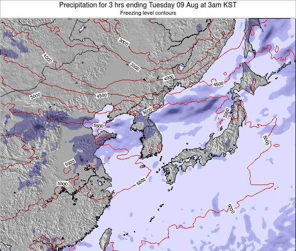 South Korea Precipitation for 3 hrs ending Tuesday 02 Sep at 9pm KST