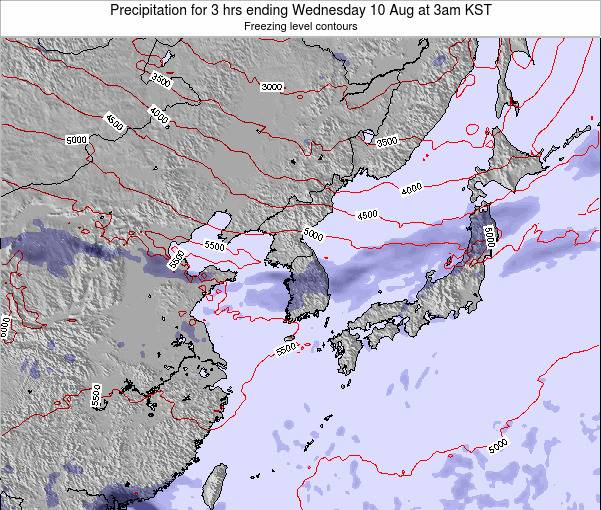 South Korea Precipitation for 3 hrs ending Wednesday 29 Apr at 3am KST