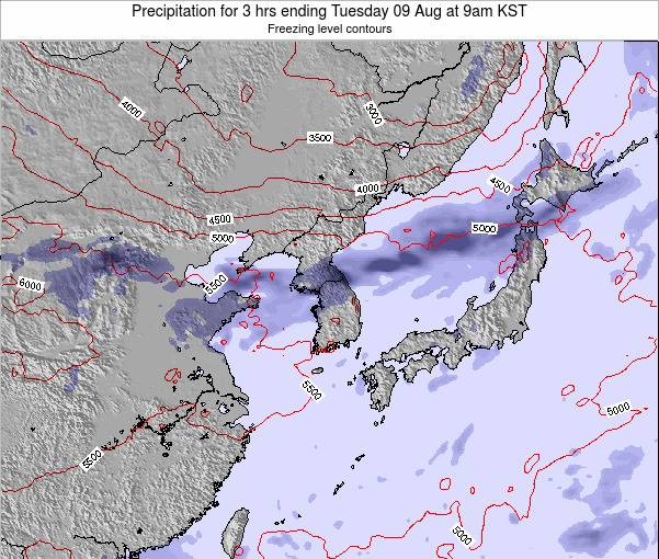South Korea Precipitation for 3 hrs ending Sunday 22 Dec at 3pm KST