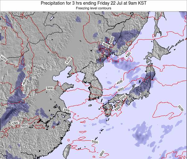 South Korea Precipitation for 3 hrs ending Tuesday 11 Mar at 9am KST