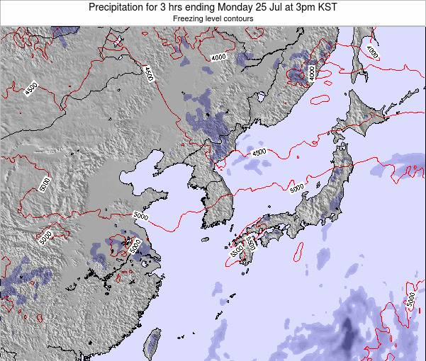 South Korea Precipitation for 3 hrs ending Saturday 26 Jul at 3pm KST