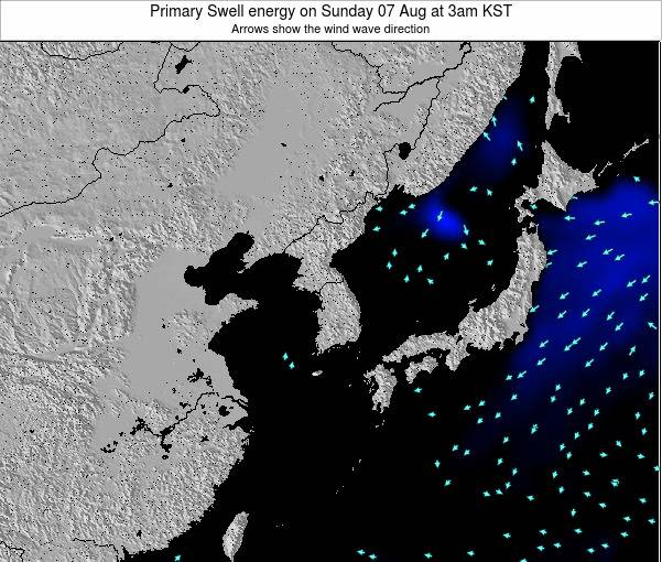 South Korea Primary Swell energy on Tuesday 17 Dec at 3pm KST