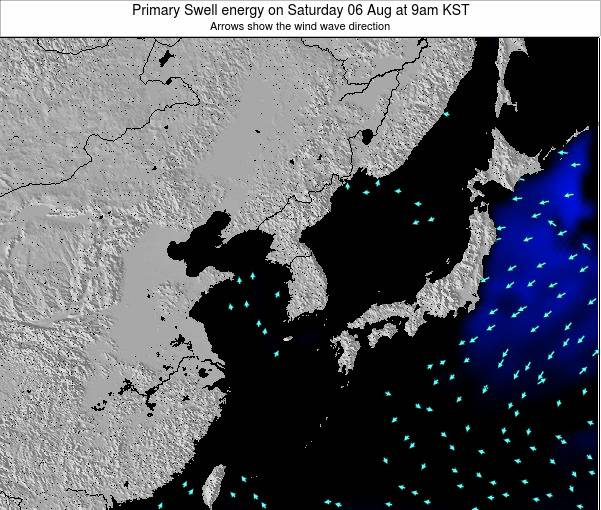 South Korea Primary Swell energy on Thursday 07 Aug at 9pm KST