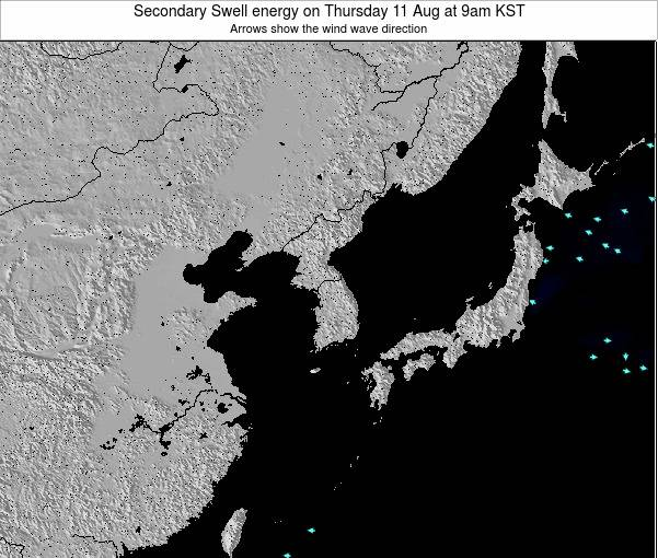 South Korea Secondary Swell energy on Saturday 02 Aug at 3am KST
