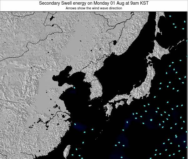 South Korea Secondary Swell energy on Sunday 09 Mar at 9am KST
