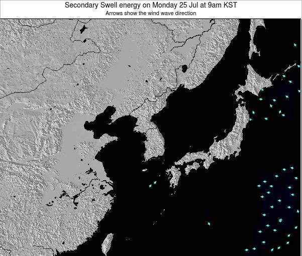 South Korea Secondary Swell energy on Saturday 02 Aug at 9am KST