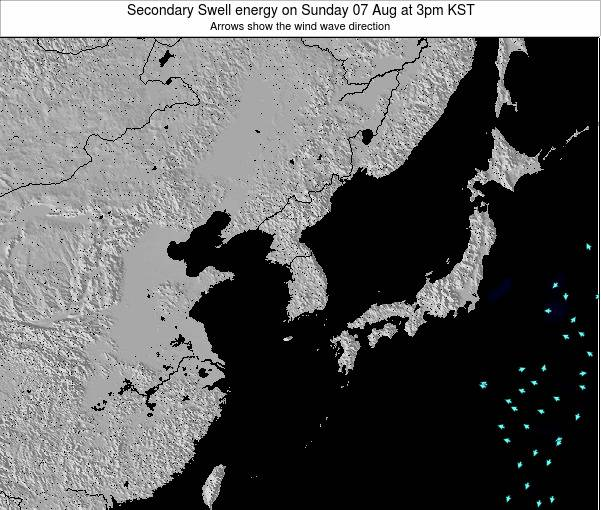 South Korea Secondary Swell energy on Tuesday 27 Jan at 9pm KST