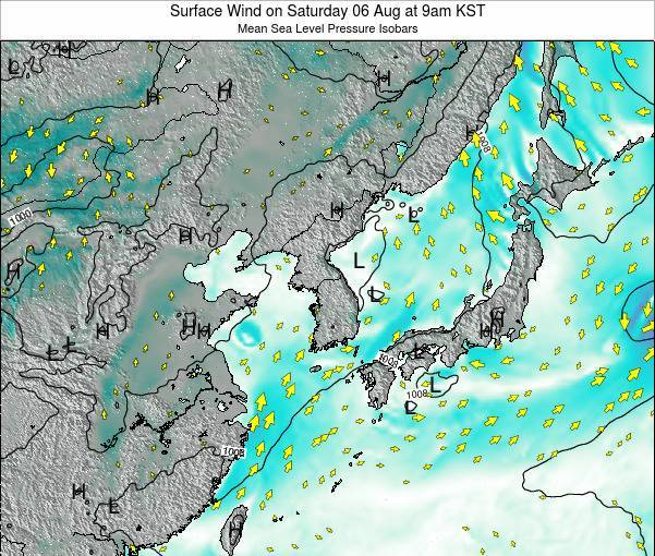 South Korea Surface Wind on Saturday 19 Apr at 3pm KST