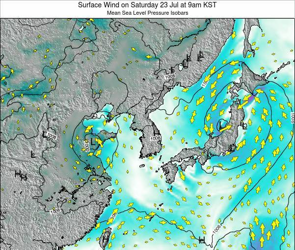 South Korea Surface Wind on Monday 31 Aug at 9pm KST