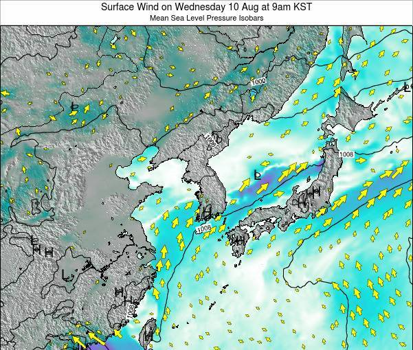 South Korea Surface Wind on Wednesday 29 Apr at 3am KST