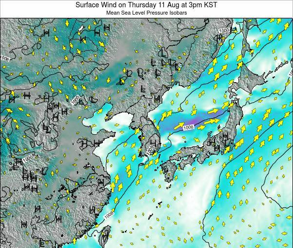 South Korea Surface Wind on Monday 27 May at 9pm KST