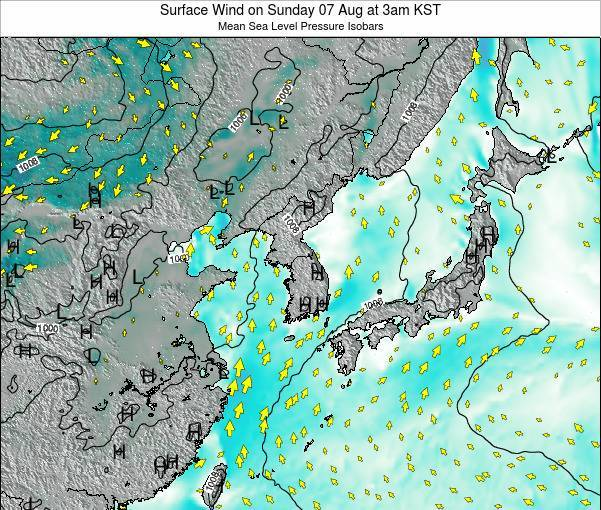 South Korea Surface Wind on Sunday 27 Jul at 3pm KST
