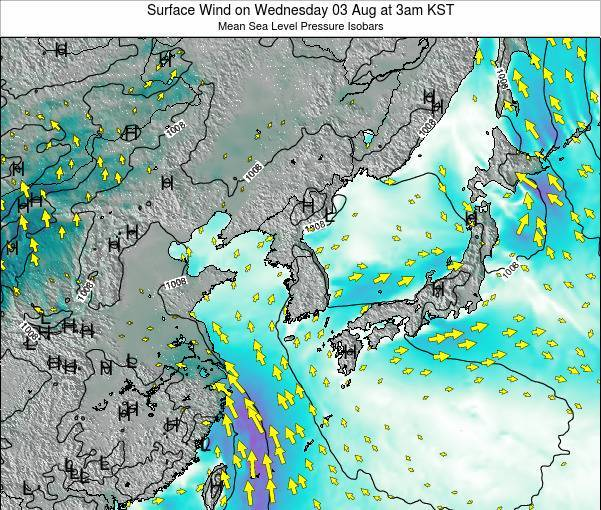 South Korea Surface Wind on Wednesday 12 Mar at 3pm KST