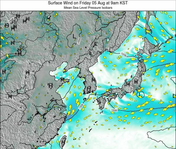South Korea Surface Wind on Monday 25 Aug at 9am KST