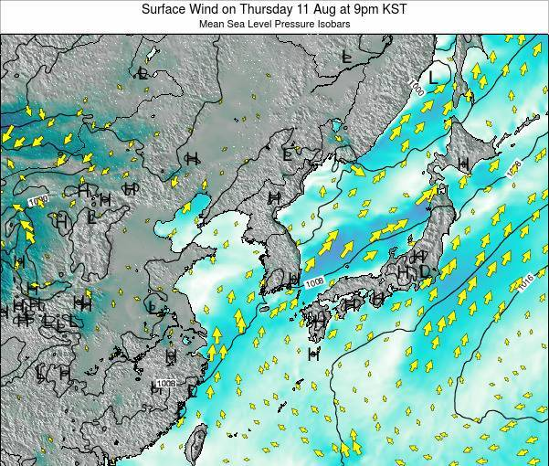 South Korea Surface Wind on Monday 16 Dec at 9pm KST