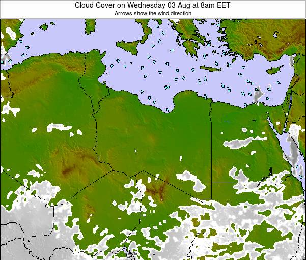 Libya Cloud Cover on Wednesday 20 Dec at 8pm EET map