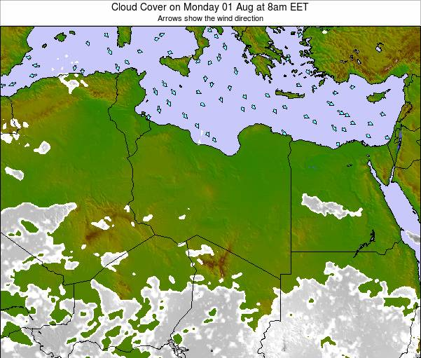 Libya Cloud Cover on Wednesday 23 Apr at 8pm CEST