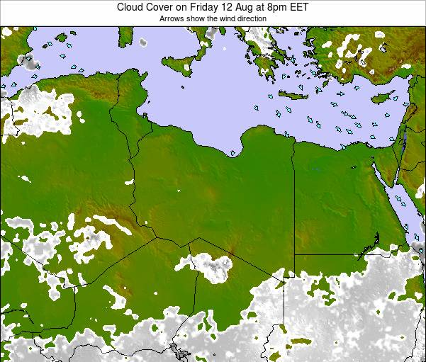 Libya Cloud Cover on Saturday 20 Oct at 2pm EET map