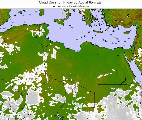 Libya Cloud Cover on Monday 26 Mar at 2pm EET map