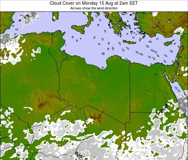 Libya Cloud Cover on Thursday 19 Dec at 1pm CET