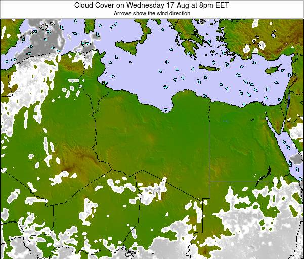 Libya Cloud Cover on Wednesday 25 Oct at 8am EET