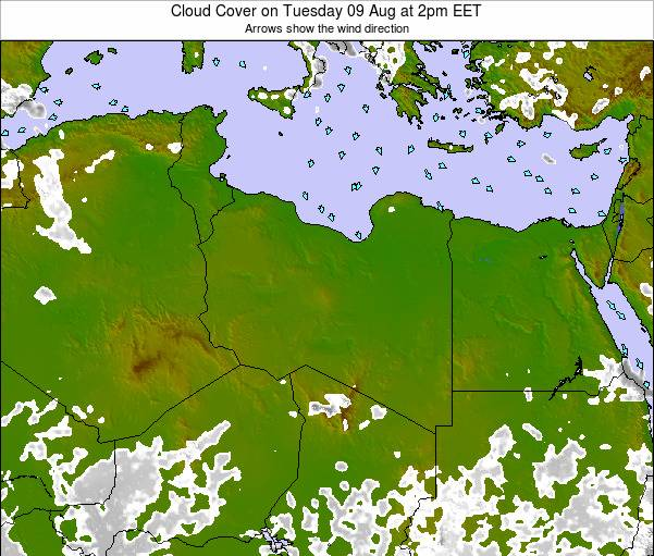 Libya Cloud Cover on Wednesday 19 Dec at 8am EET map