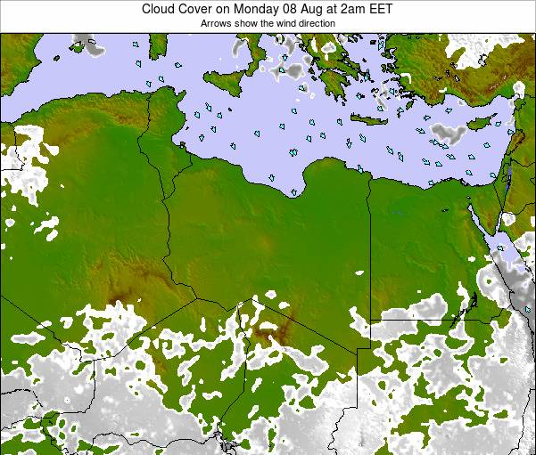 Libya Cloud Cover on Tuesday 22 Apr at 8am CEST