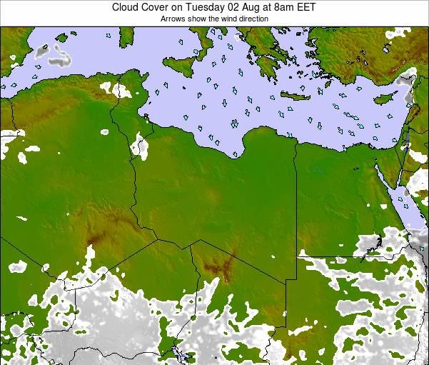 Libya Cloud Cover on Tuesday 17 Oct at 8pm EET