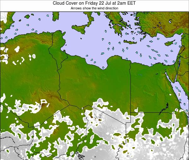 Libya Cloud Cover on Saturday 15 Dec at 2am EET map