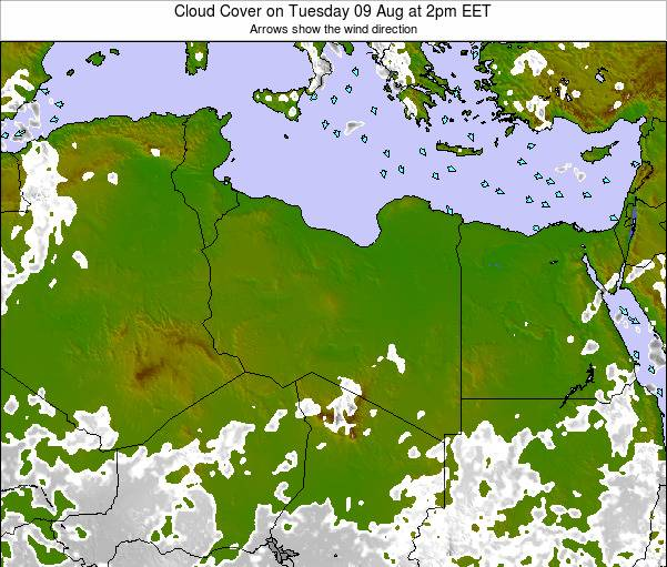 Libya Cloud Cover on Monday 26 Feb at 2pm EET map